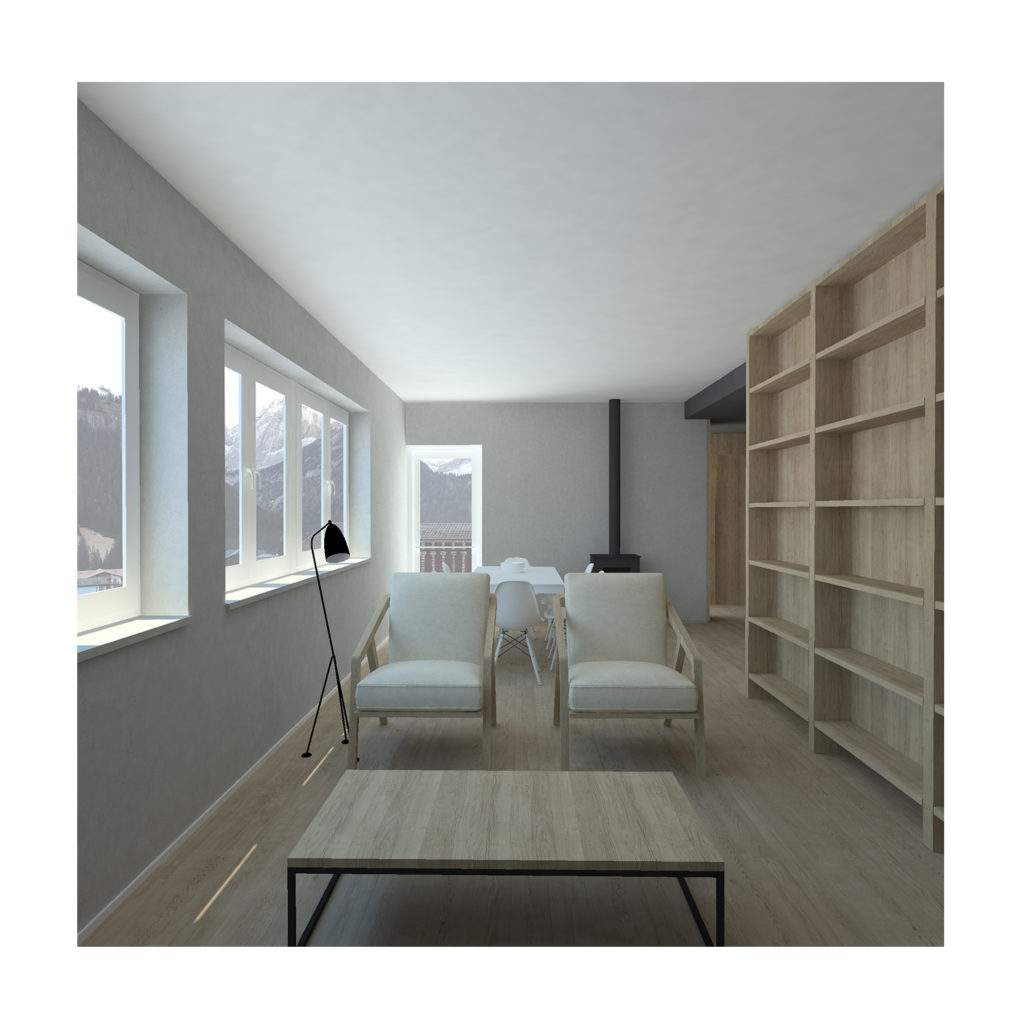 Canazei apartment interior render living area
