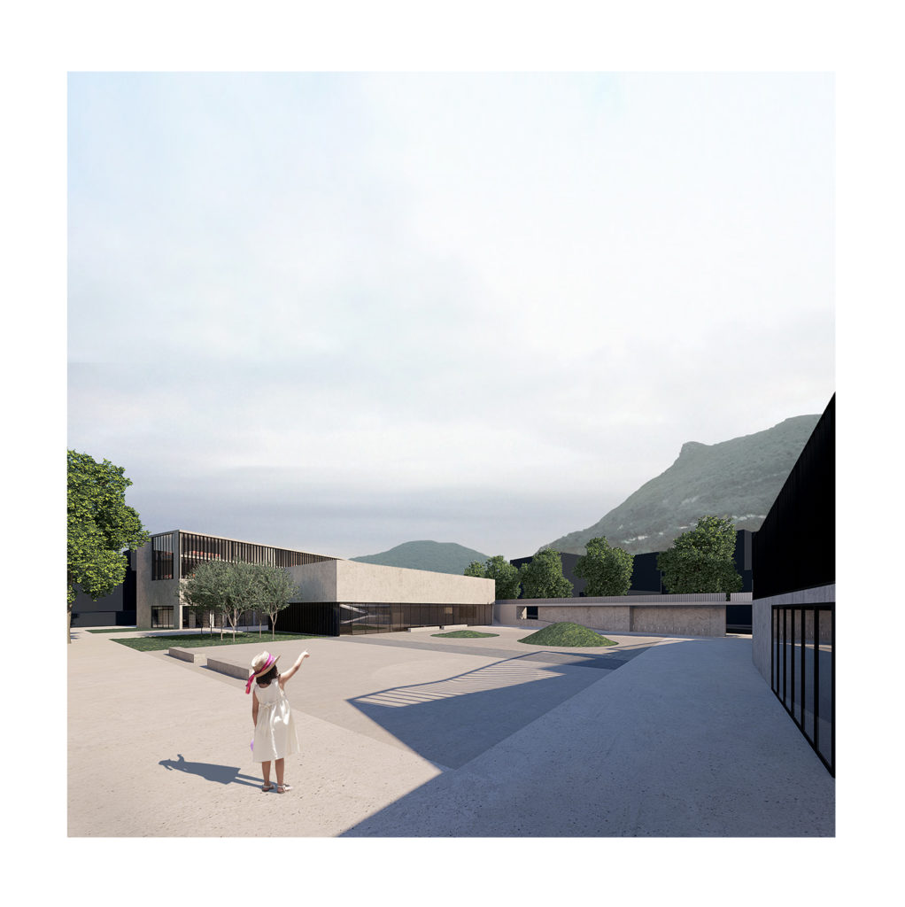 Lugano school competition piazza render