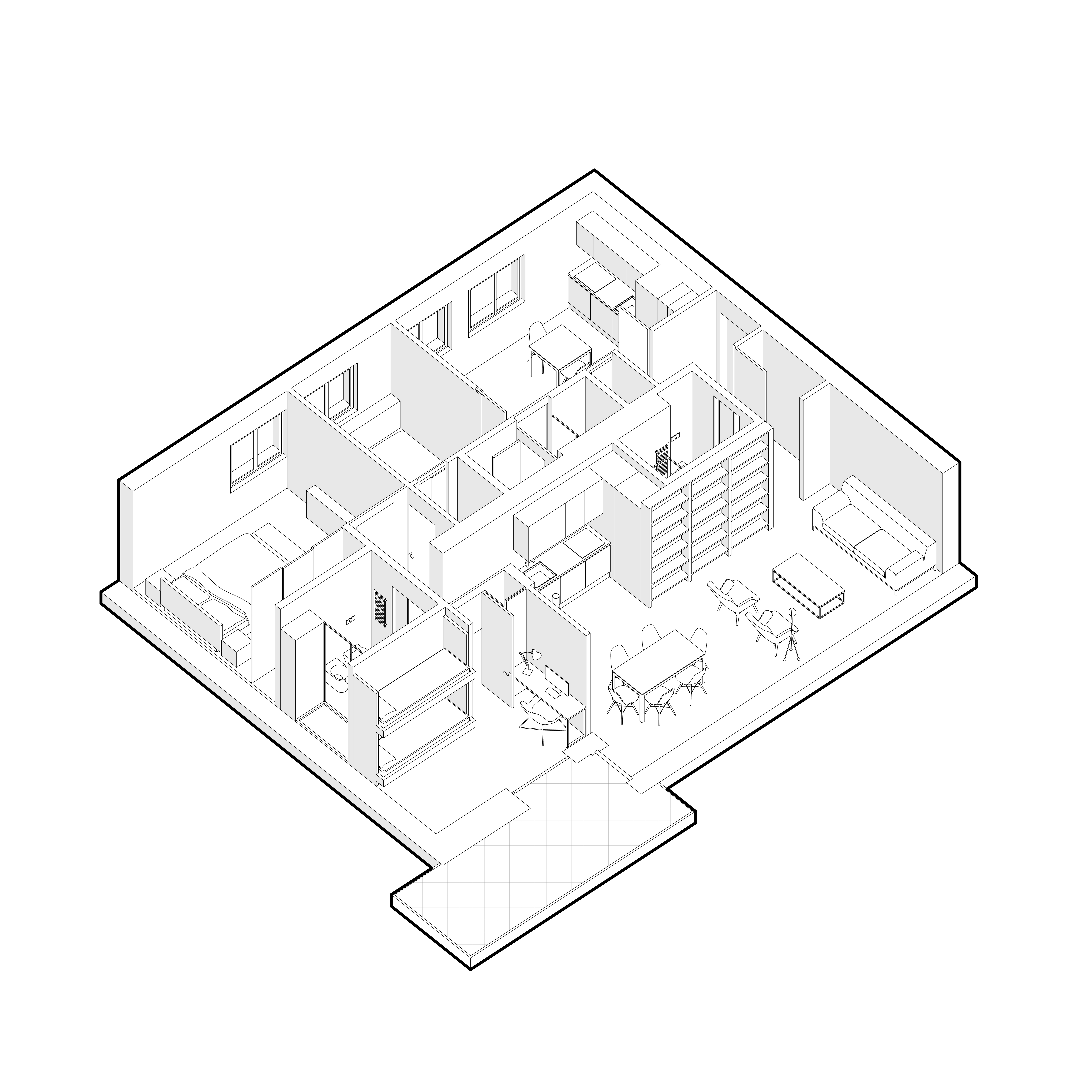 Canazei apartment axonometric