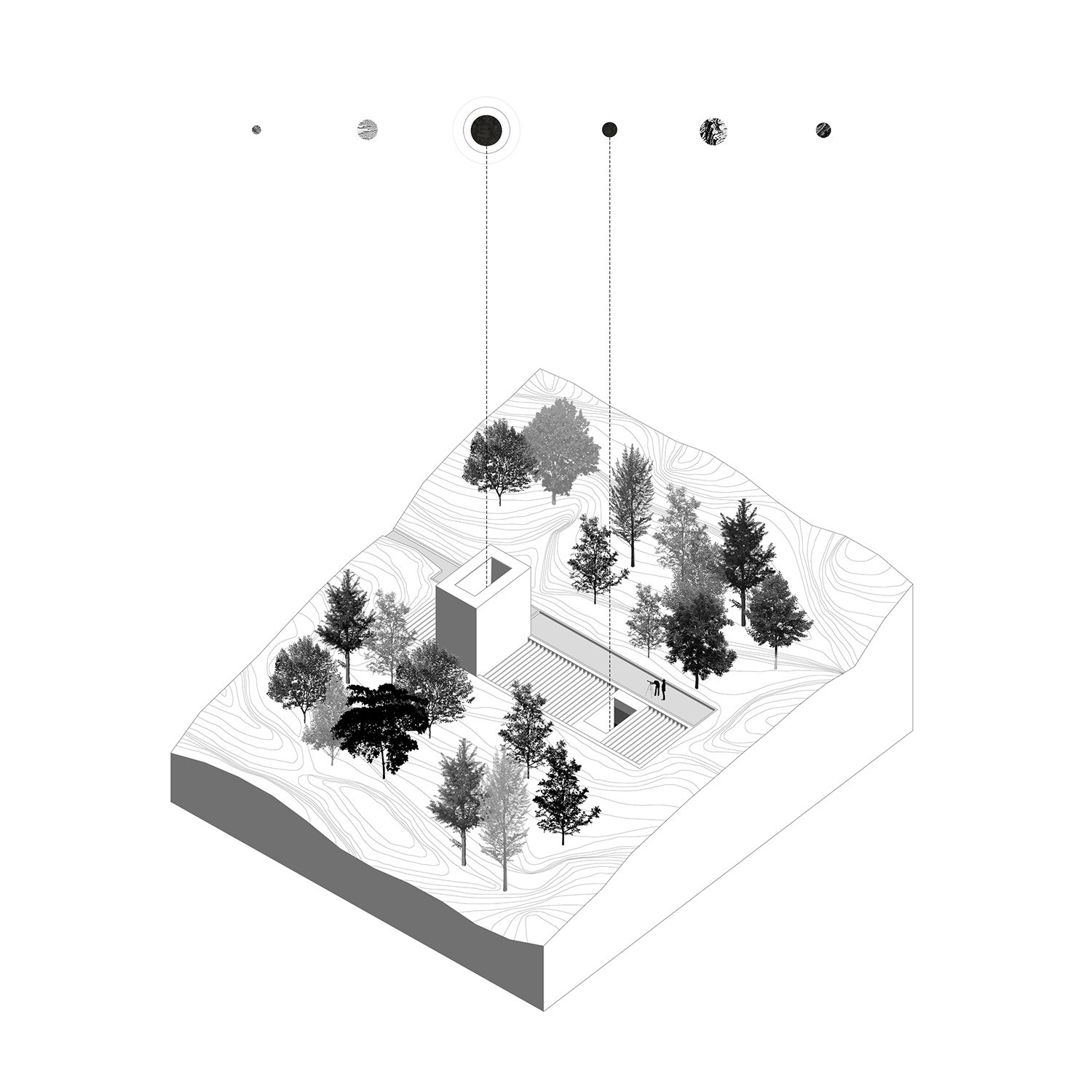 Monolith, YAC observatory houses axonometric